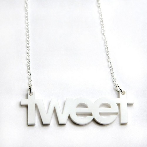 tweet twitter acrylic necklace
