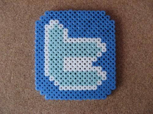 Twitter Logo Perler Magnet or Coaster