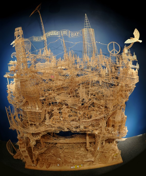 One man, 100,000 toothpicks, and 35 years: An incredible kinetic sculpture of San Francisco wood video toothpicks sculpture San Francisco art