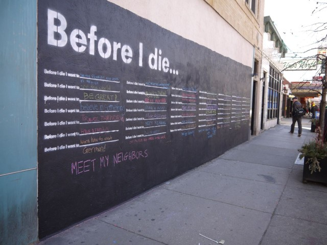 Before I Die Comes to Chicago street art installation Chicago